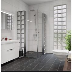 Badrum i grått och vitt Laundry Room Bathroom, Bathroom Windows, Bathroom Renos, Glass Block Windows, Glass Blocks, Dream Bathrooms, Amazing Bathrooms, Glass Block Shower, Bathroom Interior Design