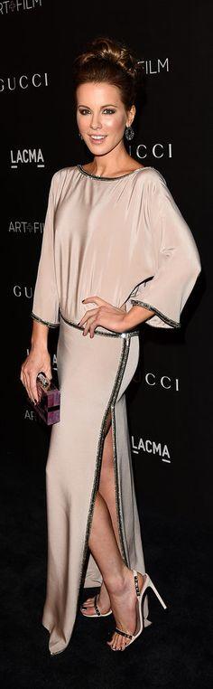 Kate Beckinsale in Gucci Fall 2014 gown, Kotur clutch, Jack Vartanian diamond Glam earrings and Gucci Mallory sandals – 2014 LACMA Art + Film Gala @gucci @fionakotur @jackvartanian
