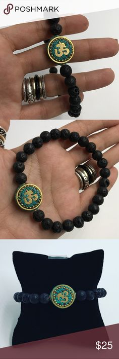 Black Lava rock om sign mala nepal beaded bracelet 🎁FREE GIFT WITH EVERY PURCHASE !! LET ME KNOW IF YOU WANT MEN OR WOMEN GIFT WHEN PURCHASING 🎁Men beaded bracelet. Fits most , 7.5 to 8.5 inch wrist. Handmade by me , never worn by anyone. Made with 8mm genuine black lava rock .  turquoise bohemian Nepal mala om sign bead charm . I ship fast !!😊✈️😉Bundle and save !! ( 10 % off bundles) Any questions let me know ! 🚫No transactions outside Poshmark!! Silverskylight Accessories Jewelry