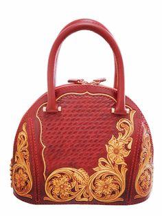 Handmade Leather Craft Sheridan Floral Carving Alma Style Handbag for Women 02