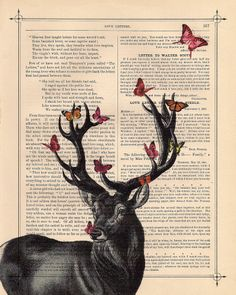 I am obsessed with deer. I don't know why haha. I love how the butterflies are resting on the antlers, and how the deer is in shades of grey but the butterflies are coloured with pinks and oranges.