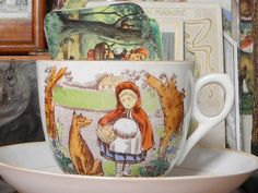 """Antique Teacup, """"Little Red Riding Hood"""" Big Teeth, Autumn Tea, Storybook Cottage, Big Bad Wolf, Red Books, Red Riding Hood, Little Red, Kids Playing, Tea Party"""