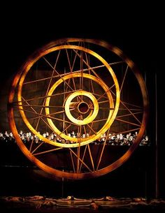 Acclaimed set designer Ming Cho Lee's colossal twenty-six-foot golden wheel shares the stage with the Seattle Choral Company and Pacific Northwest Ballet company dancers in Kent Stowell's Carmina Burana. Photo © Angela Sterling
