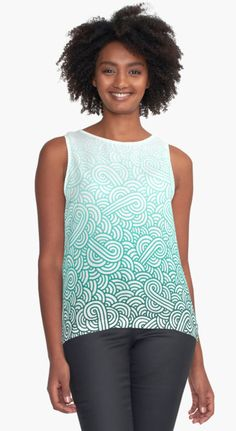 """Gradient turquoise blue and white swirls doodles"" Contrast Tank by @savousepate on @redbubble #pattern #abstract #modern #graphic #geometric #blue #turquoise #mint #aquamarine #amazonite #caribbean #teal #ombre #gradient #tanktop #apparel #clothing #fashion"