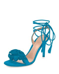 Flora ruffled suede lace-up sandal by Gianvito Rossi. Available in multiple colors. Lace-up . Navy Sandals, Ankle Wrap Sandals, Lace Up Sandals, Suede Sandals, Toe Band, Celebrity Shoes, Manolo Blahnik Heels, Rossi Shoes, Shoe Sites