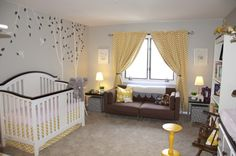 You Are My Sunshine Nursery by Cindy #PremierPrints. I like the chevron curtains and having a couch in the nursery