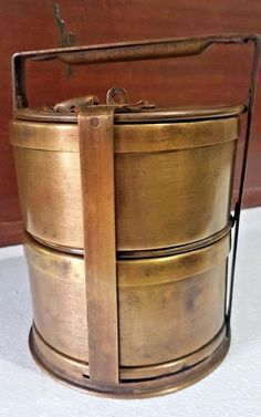Vitg Brass 2-Tier Food Tiffin box carrying Lunch Container Round Indian Origin #HandMade