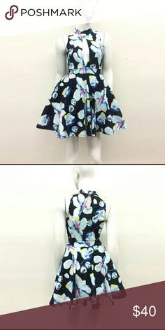 Floral Print Dress Beautiful navy floral print cut-out detail dress. Size chart is added Auditions Dresses Mini