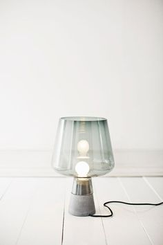 Glass meets concrete. Table lamp, Leimu, by Magnus Pettersen for Iittala.