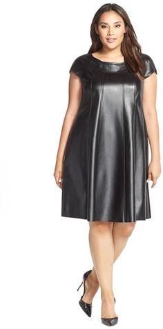 Gabby Skye Faux Leather Trapeze Dress (Plus Size) #plussizefashion #fall