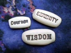 Set of 3 Serenity Courage Wisdom Porcelain by spinningstarstudio, $9.00