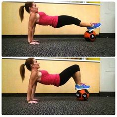 "Medicine Ball Roll Ups. • Arms shoulder width apart, feet balanced on medicine ball • Keeping abs tight and butt tight so you don't ""sag"" in the middle. • Keeping butt raised, roll legs towards butt. • Roll back out Primarily Hits: Glutes, hamstrings, core, triceps--Heather Frey"