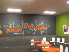 ? possibly use word decor on the youth hall ? Image result for children's church room design