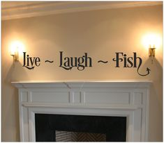 Live Laugh Fish Quote Wall Art Wall Decal by VinylDecorBoutique, $13.00