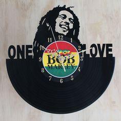 Handcarved Bob Marley vinyl record clock, record clock, vinyl art clock, vinyl wall clock, record wall clock, vinyl record clock by TikalTextiles on Etsy
