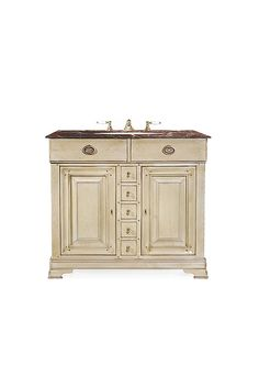 The Khan vanity unit is shown in a Versailles Grey finish.