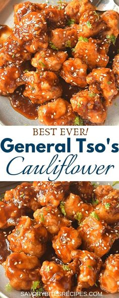 Try This Quick General Tso's Cauliflower {Ever} Try this easy and best vegan General Tso's Cauliflower recipe with crispy fried cauliflower tossed in sweet and spicy general tso sauce which makes this dish so delish that you will keep asking for more! Deep Fried Cauliflower, General Tso Cauliflower, Cauliflower Dishes, Easy Cauliflower Recipes, General Tsos Tofu, General Tso Sauce, Califlower Recipes, Vegetable Recipes, Vegetarian Recipes