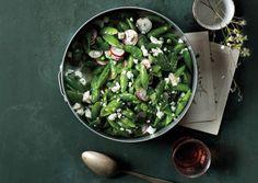 Sugar Snap Salad recipe. Ingredients include sugar snap peas, salt, extra-virgin olive oil, lemon juice, white wine vinegar, sumac, radishes, feta cheese, black pepper, and fresh mint