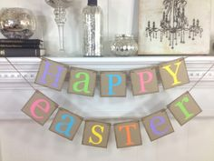 Happy Easter Decoration - Happy Easter Banner- Rusitc Easter Banner - Easter Garland. $20.00, via Etsy.