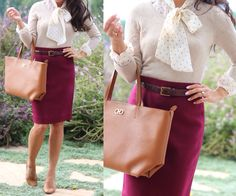 Fall work outfit: burgundy wool pencil skirt, polka dot tie neck blouse layered under neutral sweater, work bag and camel pumps