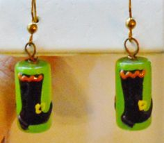 WITCH+BOOT+Earrings++Lampwork+Beads++Dangling+by+AmySueCrafts,+$7.49