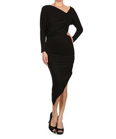 Look what I found on #zulily! Black Gathered Dress by J-Mode USA Los Angeles #zulilyfinds