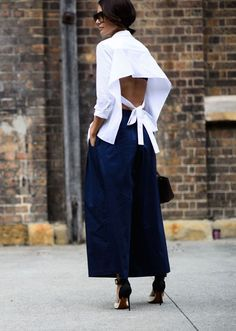 Pair your culotte trousers with an open backed top