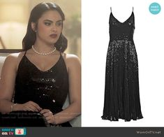 Veronica's black sequin dress on Riverdale. Outfit Details: https://wornontv.net/70193/ #Riverdale