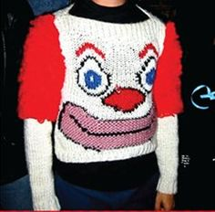 The two things that scare me the most in one handy package:  Ugly knitting and creepy clowns.....