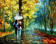 Gossip In The Rain - Palette Knife Landscape Oil Painting On Canvas By Leonid Afremov Print By Leonid Afremov
