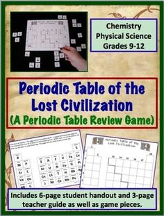 periodic table of the lost civilization a periodic table review game chemistry classroom high