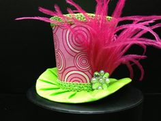 Pink and Lime Green Mini Top Hat  Great for by daisyleedesign, $25.95