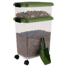 Airtight Pet Food Storage Container Set in Green.