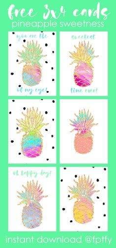 Free 3x4 Pineapple Sweetness Cards - Free Pretty Things For You