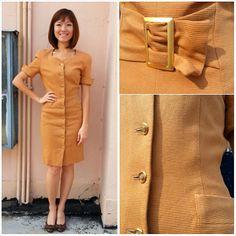 Vintage Dress/ Drool Over the Caramel Sauce Dress/ Brown Dress/ Pocket Dress/ Japan Dress/ Medium Dress/ Hip Pockets/ Corduroy Dress/ ROPE
