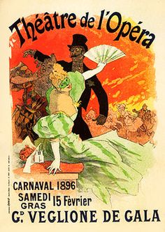 Vintage Ads Art - Reproduction of a Poster Advertising the 1896 Carnival at the Theatre de lOpera by Jules Cheret Vintage French Posters, Vintage Ads, French Vintage, Robert Mcginnis, Norman Rockwell, Illustration Française, Jules Cheret, Label Art, Art Sur Toile