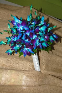 Wedding Bouquets - GG Bloom  Dyed Blue Dendrobium Orchids  Great for a Beach Wedding