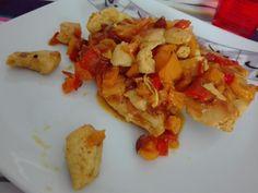 Pollo curry peperoni mandorle