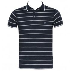 FCUK French Connection 56CF9 Black Magic Mens Polo Shirt SS13 Marina Blue from www.hypedirect.com #fashion #mensfashion #mensstyle #fcuk #frenchconnection #stripes