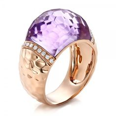 Fancy Cut Amethyst and Diamond Rose Gold Ring