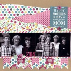 #papercraft #scrapbook #layout.  Happy Mother's Day - Scrapbook.com - made using Simple Stories Hey Mom Collection.