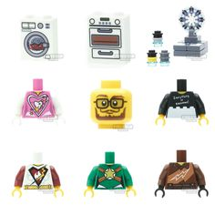New custom print LEGO parts - kitchen appliances, minifigure scale dimensions set, hipster head and some awesome torsos - www.firestartoys.com