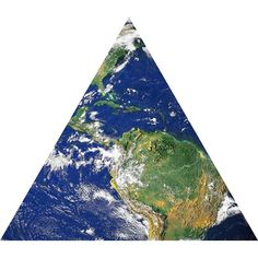 Earth from Space Nature Themed Fabric Wall Sticker (Triangle)