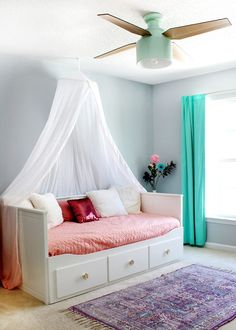 A Colorful Tween Girl's Bedroom Makeover — Tag & Tibby Design Girl's bedroom with SW Misty blue paint & Cranbrook ceiling fan Girls Bedroom Canopy, Blue Teen Girl Bedroom, Teen Girl Bedrooms, Girl Room, Girls Daybed, Cute Bedroom Ideas, Girl Bedroom Designs, Bedroom Themes, Tween Girl Bedroom Ideas