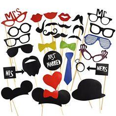 31 Tlg. Party Foto Verkleidung Schnurrbart Lippen Brille Krawatte Hüten Photo Booth Props Set Hochzeit Partymitbringsel surepromise http://www.amazon.de/dp/B00GSIWGW8/ref=cm_sw_r_pi_dp_nUgbvb12KQHYD