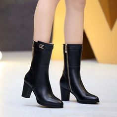 (107.10$)  Watch now - http://ai1u5.worlditems.win/all/product.php?id=32768157541 - New Fashion pointed toe med high thick square heel buckle decorated side zipper mid calf boots for woman in winter Hot Sale