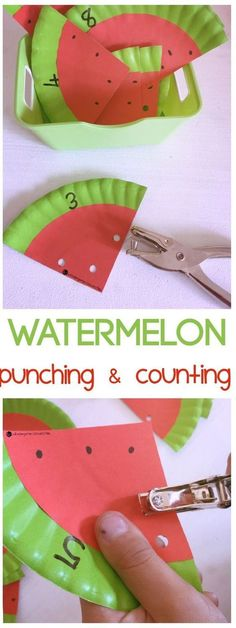Make these fun watermelon counting cards during summer for a lovely counting and fine motor activity to play with your Preschooler or Kindergartner! #finemotor #handsonlearning #counting #numbers #math #kidscraft