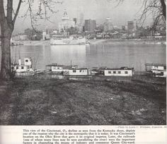 Cincnnati, OH skyline from the shores of Bellevue, KY (circa Vintage Pictures, Old Pictures, Brooklyn Library, Skyline Chili, Moving To California, My Old Kentucky Home, Ohio River, Cincinnati, Cleveland