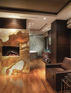 gorgeous fireplace outside the bath....in the berdroom