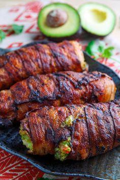 Bacon Wrapped Guacamole Stuffed Chicken